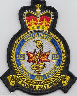 RAF no. 92 Squadron Royal Air Force Embroidered Crest Badge Patch MOD Approved