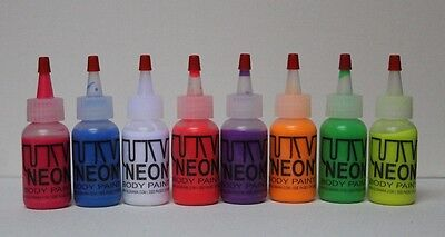 1Oz Uv Black Light Body Art Paint Neon Fluores Glow Airbrush  Party Rave Tattoo