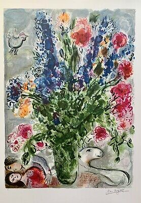 """MARC CHAGALL """"LES LUPINS BLEU"""" Limited Edition Facsimile Signed Lithograph Art"""