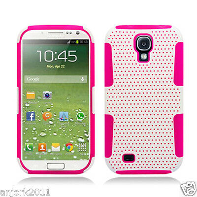 Samsung Galaxy S4 i9500 Mesh Hybrid Case Skin Cover Accessory White Hot Pink