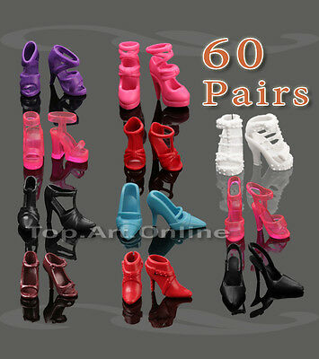 Fashion Mix 60 Pair Different Princess High-Heel Party Shoes For Barbie Doll