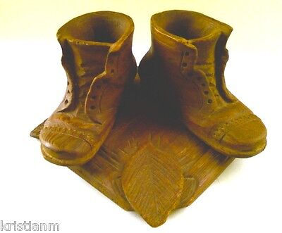Charming 1900 Folk Art Carved Wood Pair of Shoes on Wooden Base