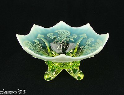 Northwood ~ Inverted Fan & Feather ~ Vaseline ~ Card Tray Whimsey ~ c1900 ~ MINT