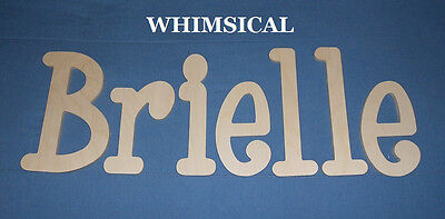 "Wooden Wall Letters 6"" Size Unpainted Wood Name Nursery Room Decor Whimsical"