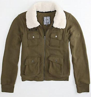 5fdfb5442 BRAND NEW VOLCOM Womens Bomber Jacket Coat Sherpa Military Army Padded Top  Xl