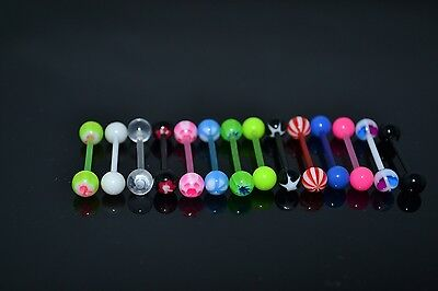 Lot50pcs Body Jewelry 14g~1.6mm Colorful Flexible UV Tongue Ring Bar Barbells