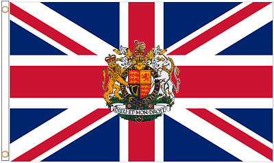 United Kingdom Union Jack Royal Crest 5'x3' Flag