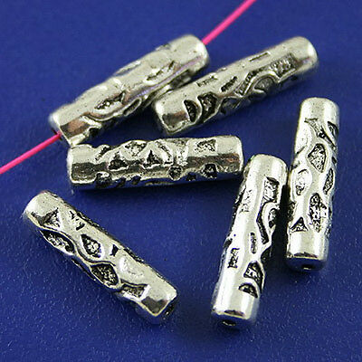 30pcs Tibetan silver long tube spacer beads h2500