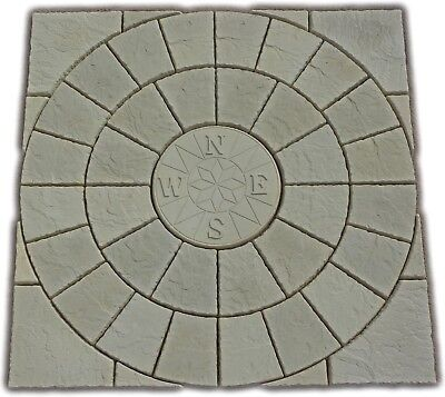 compass rotunda circle + sq off kit paving patio slabs stone.Del note exceptions