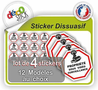 Lot de 4 stickers autocollant vid o surveillance cam ra for Stickers exterieur