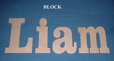 """Unpainted Wooden Wall Letters 6"""" size Wood Nursery Child Room Playroom Decor"""
