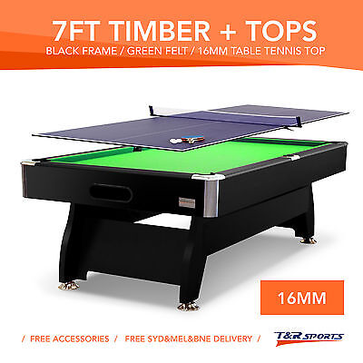 7Ft Pool Table Snooker Billiards Free Air Hockey & Ping Pong Top Free Accessory