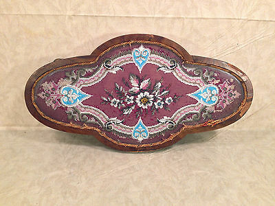 Antique Wooden Center Piece with Veneer Inlay Glass and Embroidery Bead Design • CAD $242.45