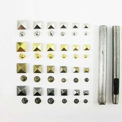 Pyramid Studs Rivet Nailhead Spike Square Leather Craft DIY Rock Punk Press Tool