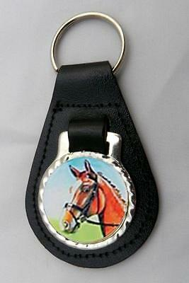 HORSE RIDING EQUESTRIAN LEATHER KEY FOB Keyring Gift Choice of Colours NEW