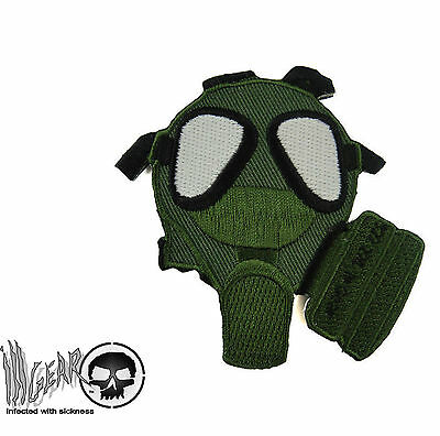 ill Gear Green / Black GAS MASK Velcro Patch Survival Tactical OPS GASMASK