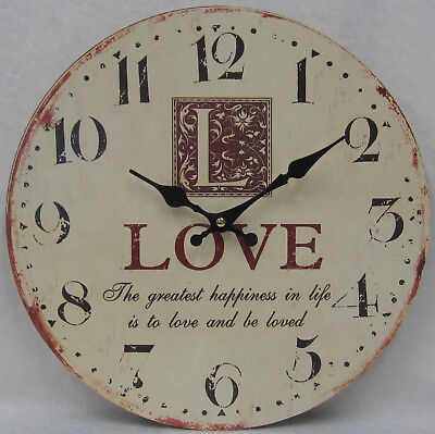 34cm Rustic French Provincial Country L is For Love Cream & Rust Wall Clock BNIP