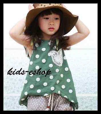 Girl Summer Holiday 2 Piece Set Outfit Polka Dot Top T-Shirt Shorts Pants 2-7Y