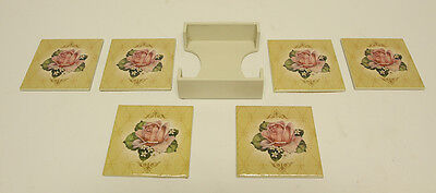 Set of 6 Wooden Floral Pastel Colored Square Table Drink Coasters With Holder