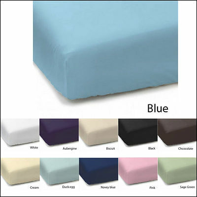 Plain Dyed PolyCotton Fitted Bed Sheet Single Double King Super King Pillowcases