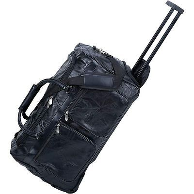 """Genuine Leather 21"""" Rolling Duffle Bag, Mens Carry-On Luggage Trolley Suitcase"""