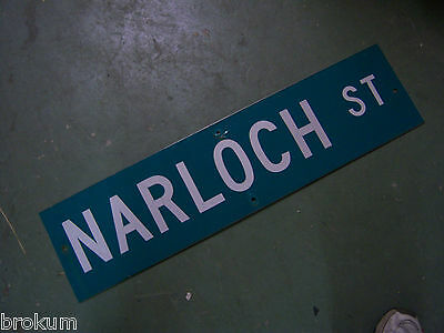 "Vintage ORIGINAL NARLOCH ST STREET SIGN WHITE ON GREEN BACKGROUND 36"" X 9"""
