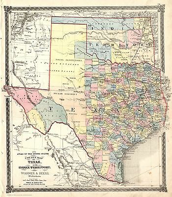 Fabulous 1872 TEXAS-IT County Map~Warner & Beers~Print~18x24