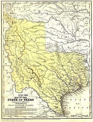 """1846 Texas State~Stovepipe~Map~Mitchell~Print~20"""" x 16"""""""