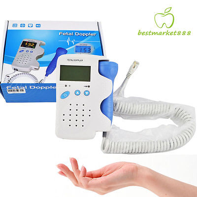 Top LCD Dispaly 3Mhz Probe Fetal Doppler Baby Heart Beat Rate Monitor Pregnancy