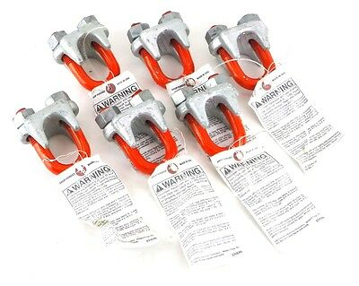 "CM M255 1-1/8"" Galvanized Big Orange U-Bolt Wire Rope Clip Set of 6 Clips USA 5K"