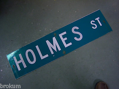 "Vintage ORIGINAL HOLMES ST STREET SIGN WHITE ON GREEN BACKGROUND 36"" X 9"""