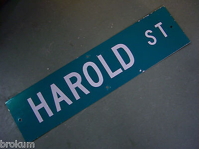 "Vintage ORIGINAL HAROLD ST STREET SIGN WHITE ON GREEN BACKGROUND 36"" X 9"""