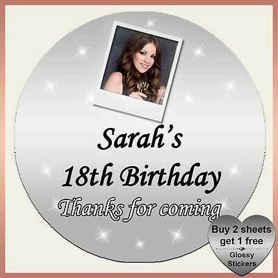 Personalised  BIRTHDAY Party Photo Stickers 13th 16th 18th 21st 30th 40th -#2