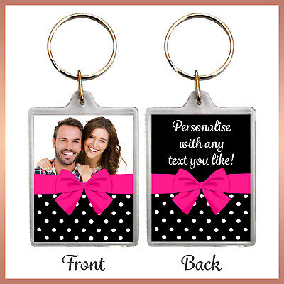 Personalised POLKA DOT with BOW Photo KEYRING - Best Friend Birthday Xmas gift