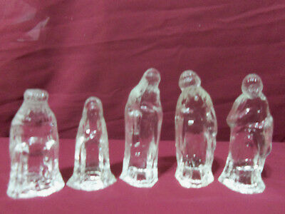 5 pc Glass Nativity Scene Mary Joesph And The 3 Wisemen