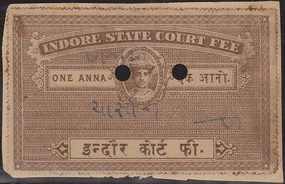 (R645) 1930's Indian indoor state court fee (A)