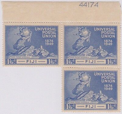 (R654) 1949 Fiji 1/6d blue UPU block of 3 with plate no