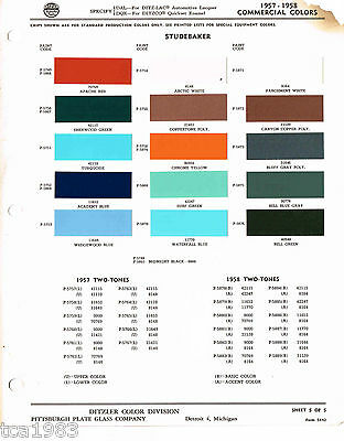 1957-1958 STUDEBAKER COMMERCIAL (Truck) Color Chip Paint Sample Brochure/Chart
