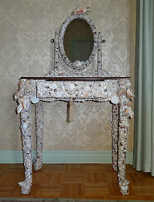 Shell-Encrusted Vanity Table - Custom Made Furniture