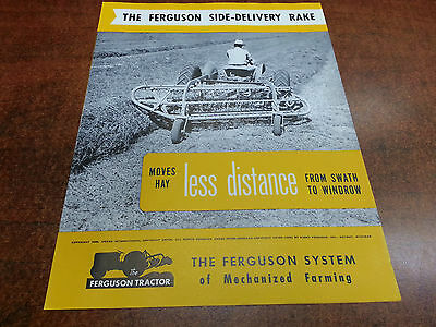 Harry Ferguson Tractor SIDE DELIVERY RAKE sales brochure ORIGINAL 1949