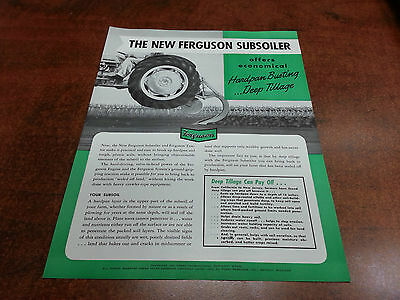 Harry Ferguson Tractor SUBSOILER sales brochure ORIGINAL 1951