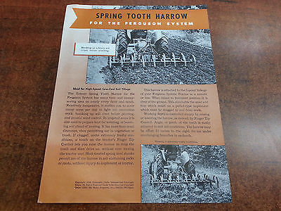 Harry Ferguson Tractor SPRING TOOTH HARROW sales brochure ORIGINAL 1948