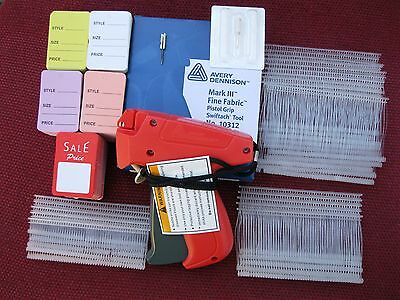 Avery Dennison Fine Price Tag Gun +1000 Barb + 500 Mix Price Tag +1 Ext. Needle