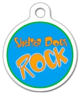SHELTER DOGS ROCK - Custom Personalized Pet ID Tag for Dog and Cat Collars