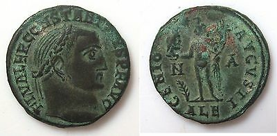 Constantius I bronze follis coin 293-306 AD - Head / Genius holding eagle