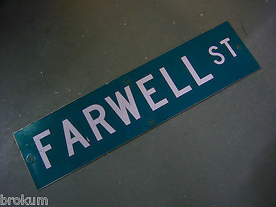 "Vintage ORIGINAL FARWELL ST STREET SIGN WHITE ON GREEN BACKGROUND 36"" X 9"""