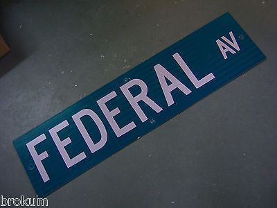 "Vintage ORIGINAL FEDERAL AV STREET SIGN WHITE ON GREEN BACKGROUND 36"" X 9"""