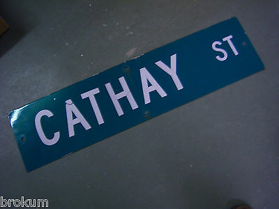 "Vintage ORIGINAL CATHAY ST STREET SIGN WHITE ON GREEN BACKGROUND 36"" X 9"""