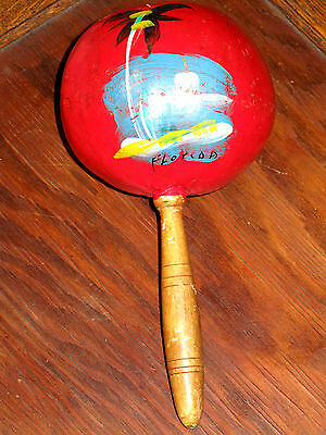 GREAT SOUNDING & SOLID Vintage 1950s Single Maraca Latin Shaker FLORIDA SOUVENIR