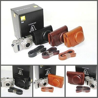 NEW Leather case bag for Nikon COOLPIX A digital camera  black coffee brown